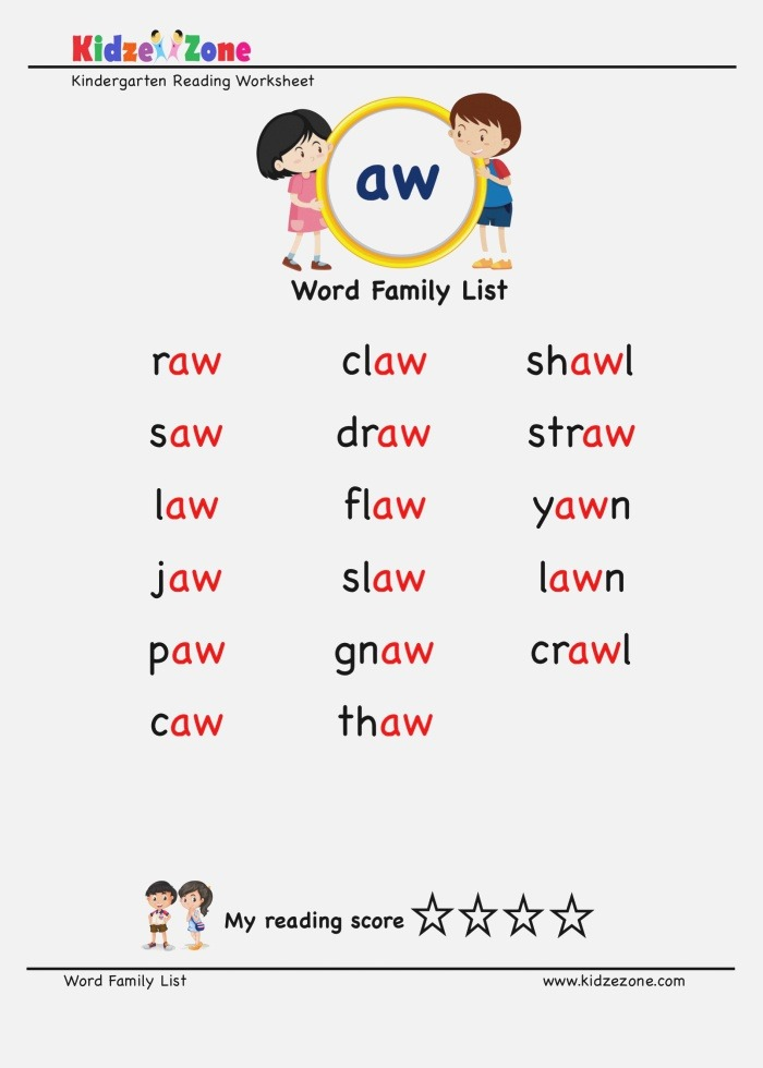 """Explore and Learn Words From """"aw"""" Word Family with Word"""
