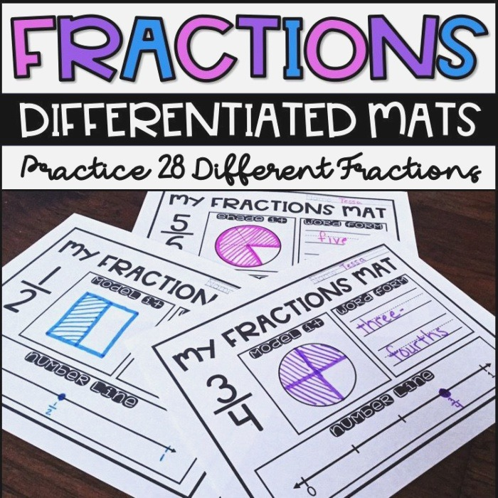 Fractions Worksheets 2 G 3 3 Nf 1 3 Nf 2 Differentiated