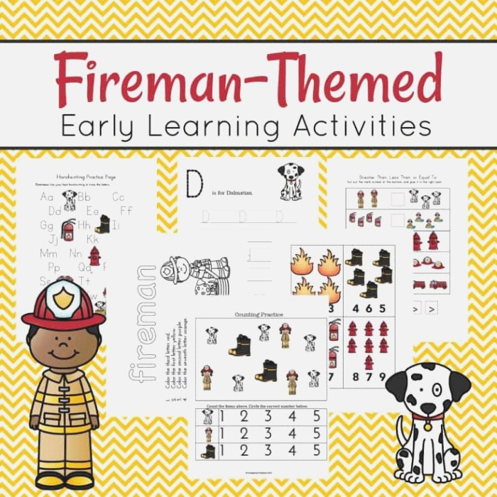 Free Fireman themed Early Learning Activities Thrifty