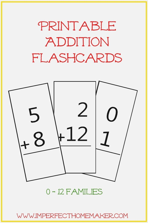 Free Printable Addition Flashcards Imperfect Homemaker