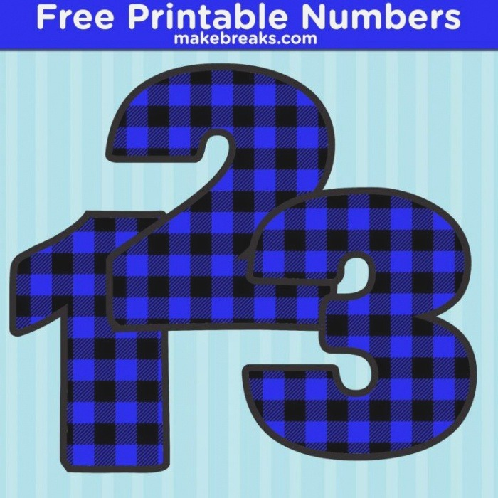 Free Printable Bold Blue Plaid Numbers In 2020