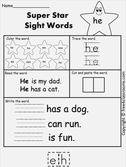 Free Sight Word Worksheet – He – Free4classrooms