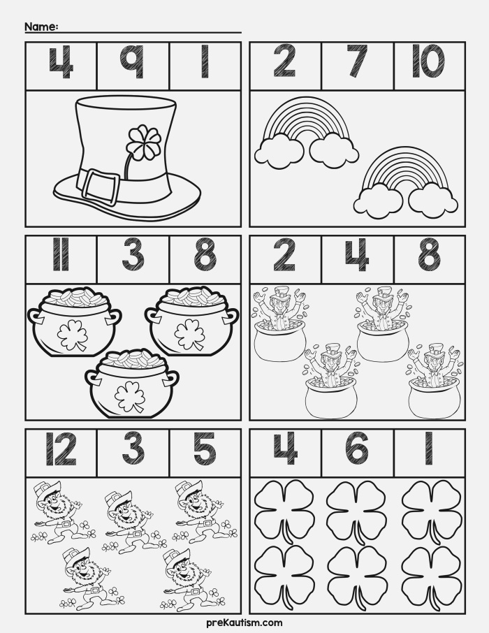 Free St Patrick S Day Quantity Worksheets