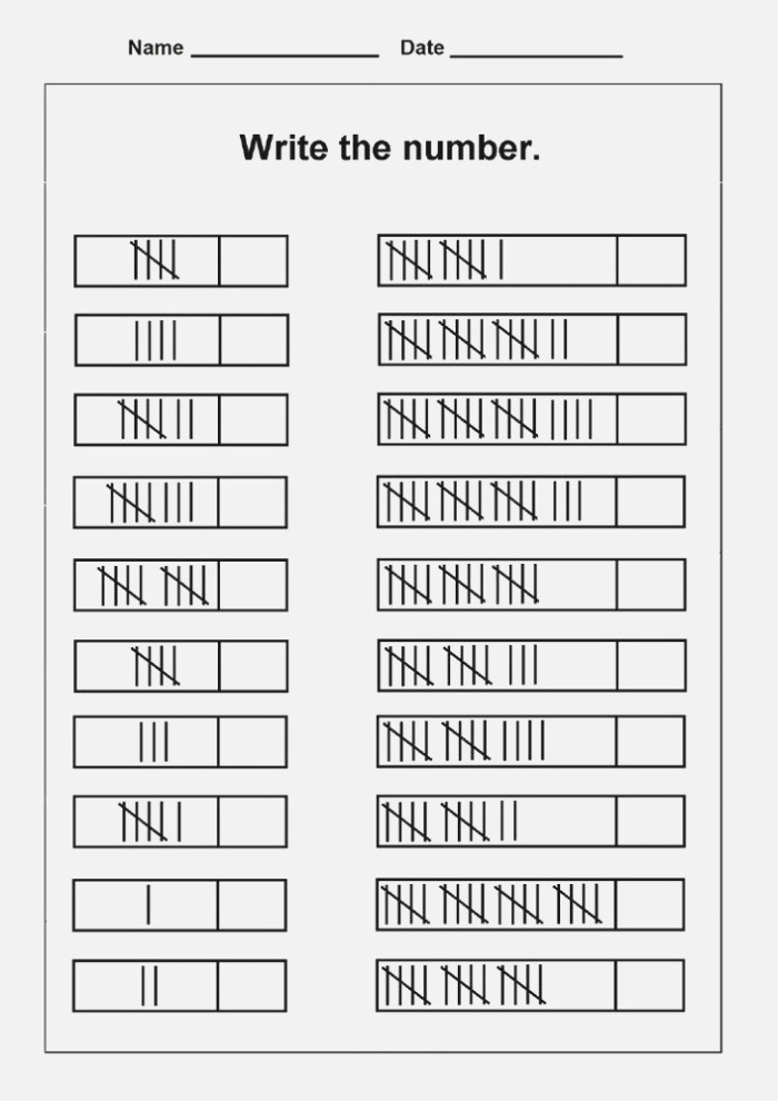 Free Tally Mark Worksheets to Print