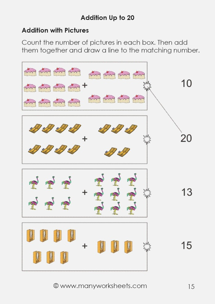 Kindergarten Addition with Sum Up to 20 Worksheets