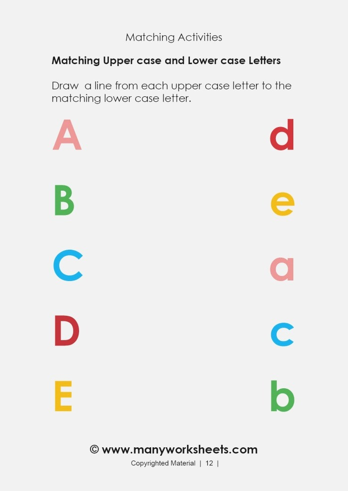 Kindergarten Matching Uppercase and Lowercase Letters A to E