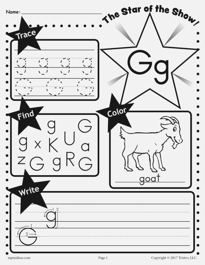 Letter G Worksheet Tracing Coloring Writing & More