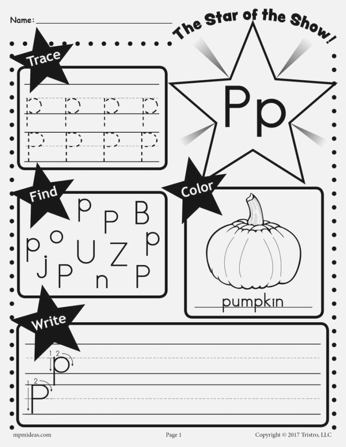 Letter P Worksheet Tracing Coloring Writing & More