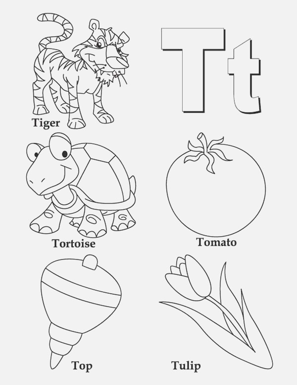 Letter T Coloring Pages Preschool at Getcolorings