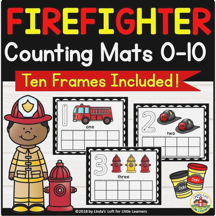 Munity Helpers Firefighter Counting Mats and Ten