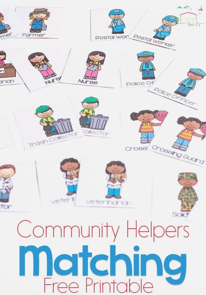 Munity Helpers Matching Game for Preschoolers Life