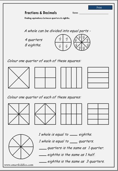 New 350 Fractions Worksheets Halves Quarters and Eighths