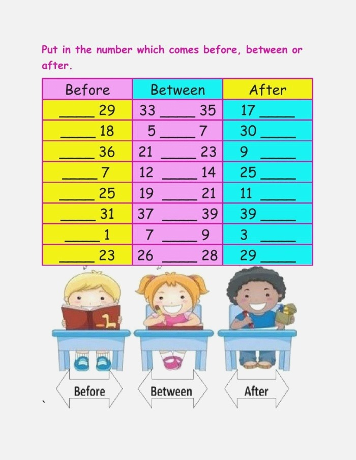 Numbers before after and Between Worksheets
