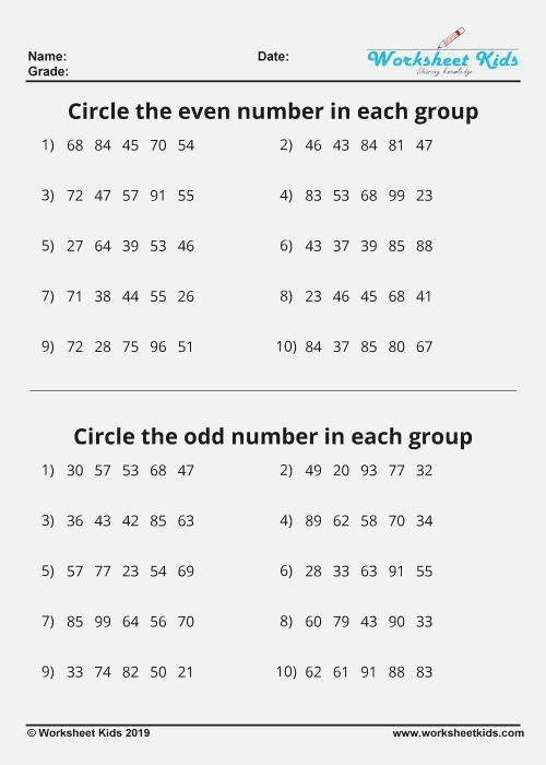 Odd and even Numbers Worksheets Free Printable Pdf