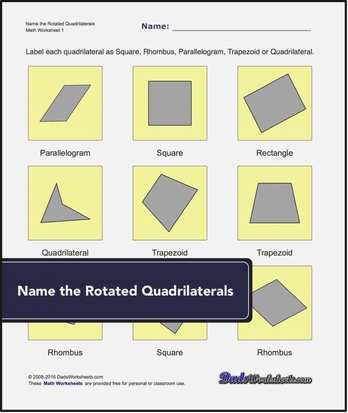 Our Geometry Worksheets Require Students to Identify and