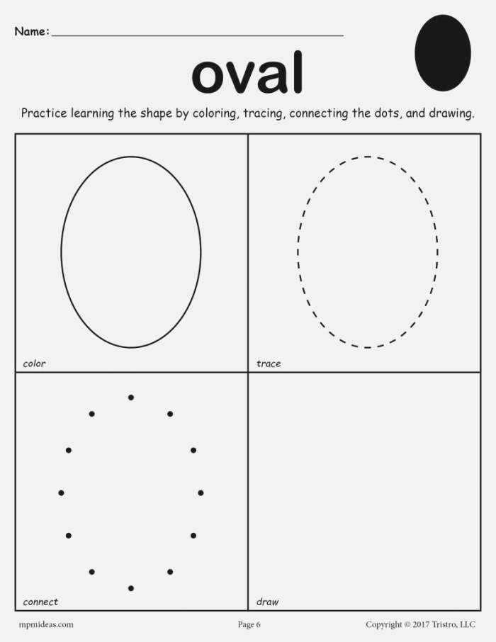 Oval Worksheet Color Trace Connect & Draw – Supplyme