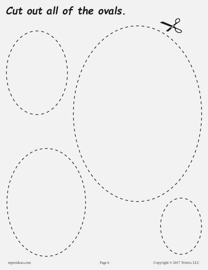 Ovals Cutting Worksheet Ovals Tracing & Coloring Page