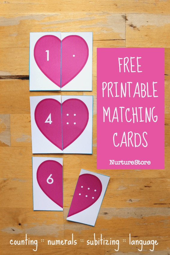 Printable Heart Matching and Counting Cards Valentine S