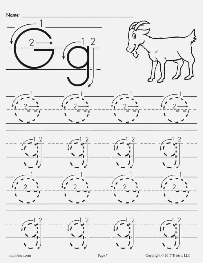 Printable Letter G Tracing Worksheet with Number and Arrow