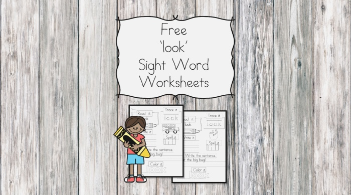 """""""look"""" Sight Word Page Free and Easy"""