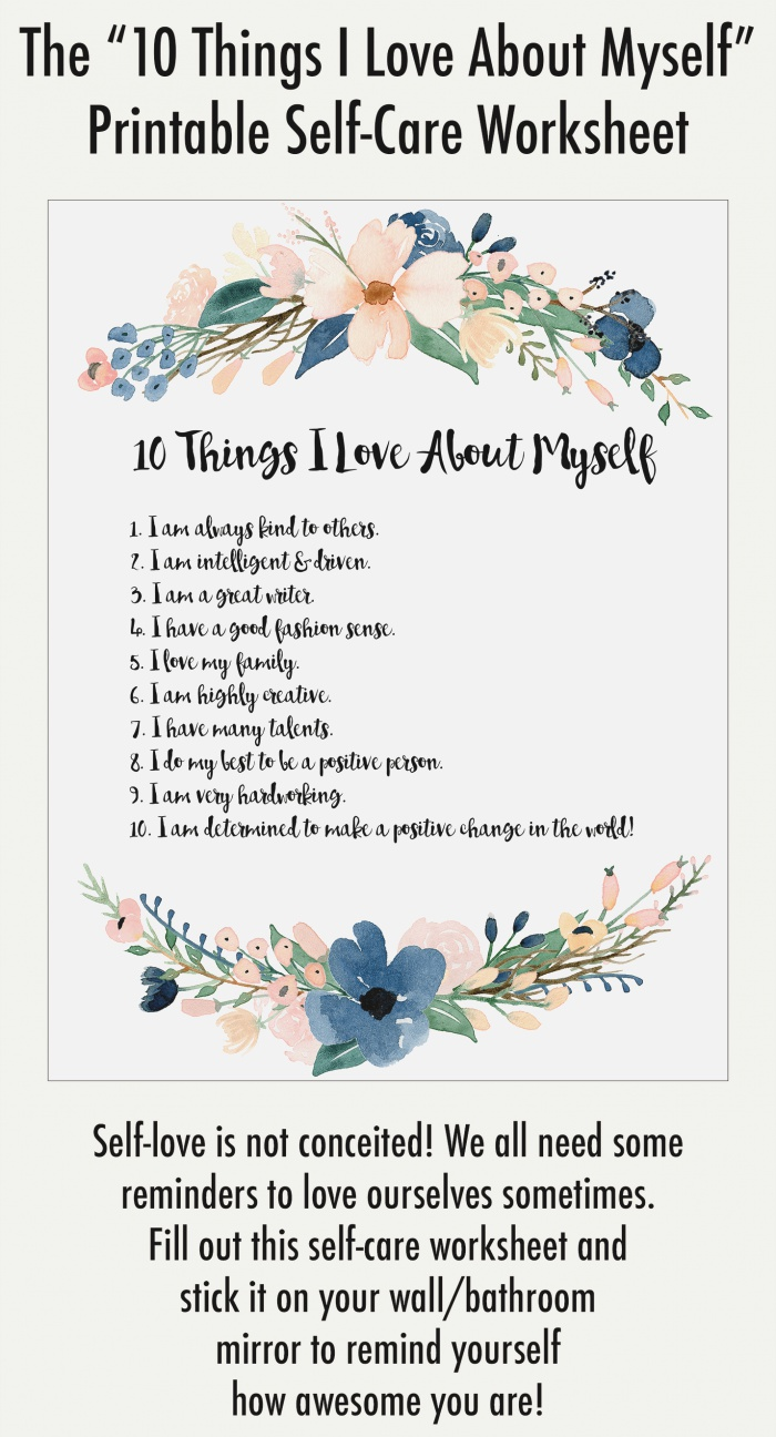 """Self Love Exercise """"10 Things I Love About Myself"""