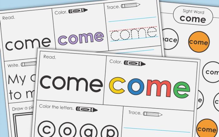 Sight Word E Worksheets