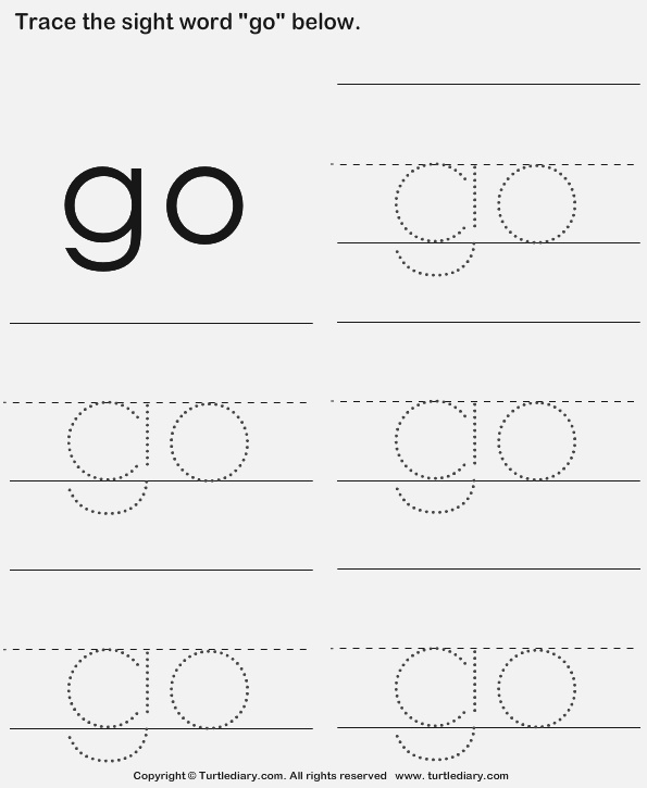 Sight Word Go Tracing Sheet Worksheet Turtle Diary