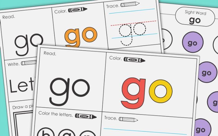 Sight Word Go Worksheets