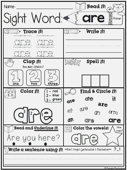 Sight Word Print & Go No Prep Packet Dolch Primer