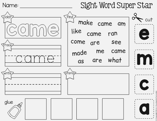 """Sight Word """"came"""" Cut and Paste Worksheet"""