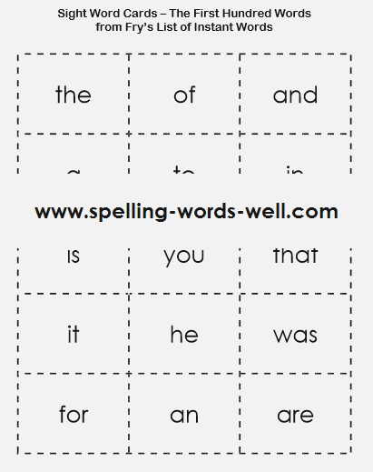 Sight Word Worksheet New 174 Fry Sight Word Printable Cards