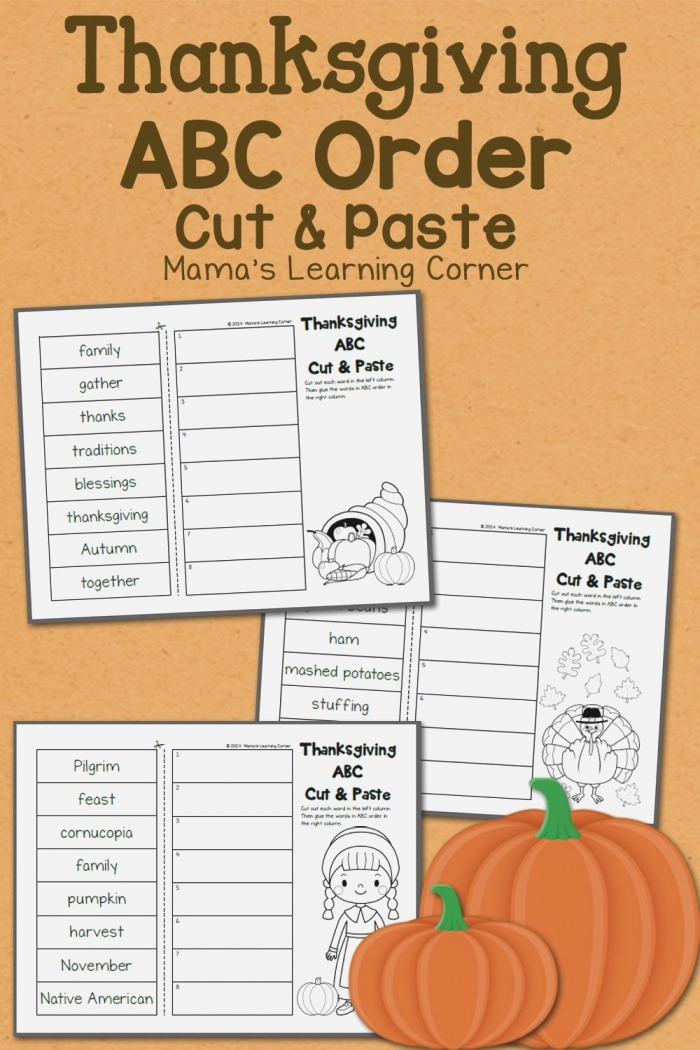 Thanksgiving Abc order Cut and Paste Worksheets Mamas