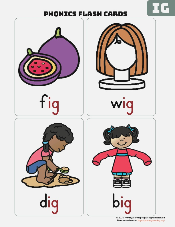the Ig Word Family Flash Cards
