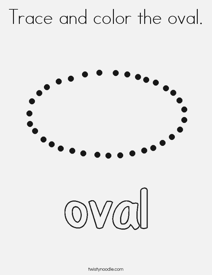 Trace and Color the Oval Coloring Page Twisty Noodle