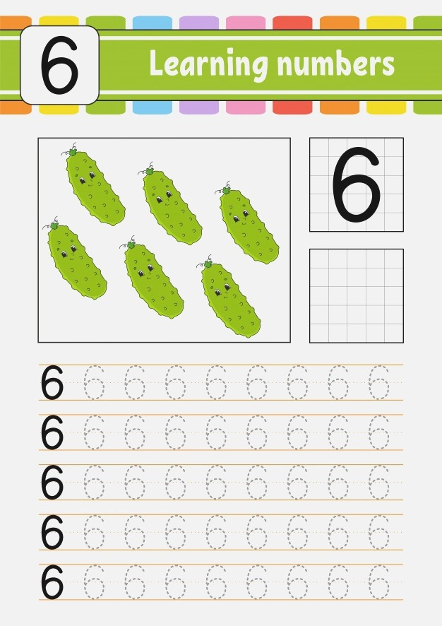 Trace and Write Worksheet Number Six Vector