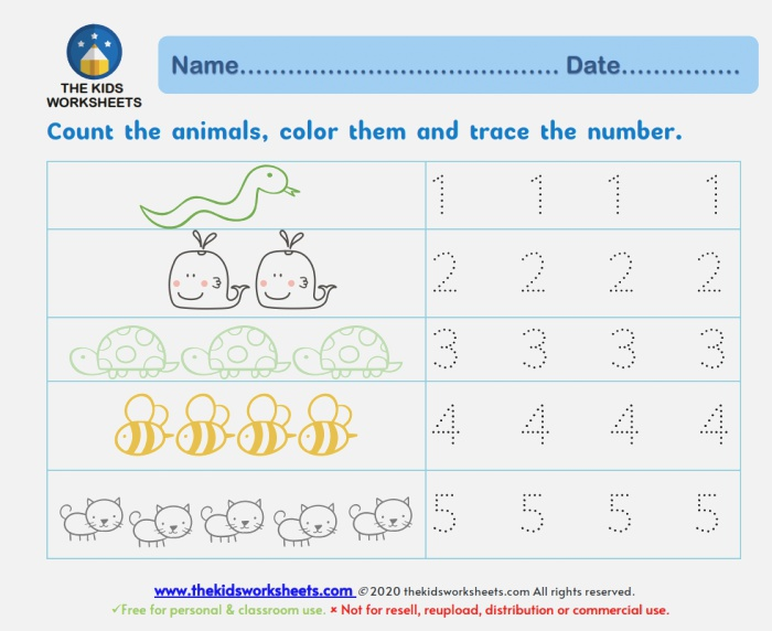 Trace Numbers 1 10 the Kids Worksheets