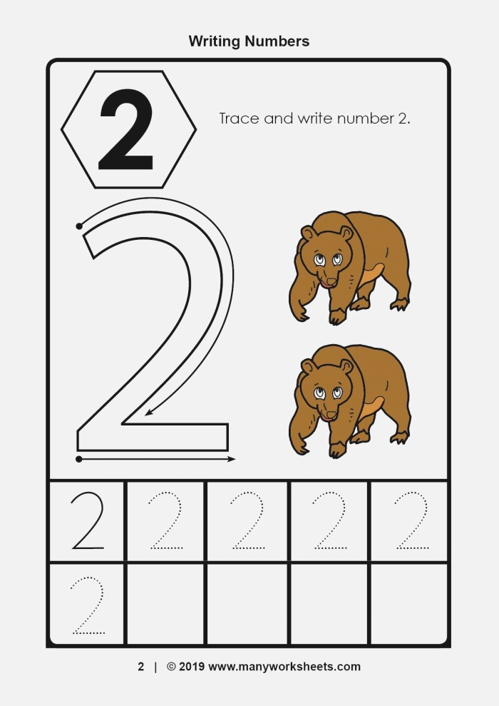 Tracing and Writing Number 2 Worksheet