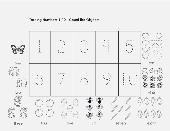 Tracing Numbers 1 10 Worksheets