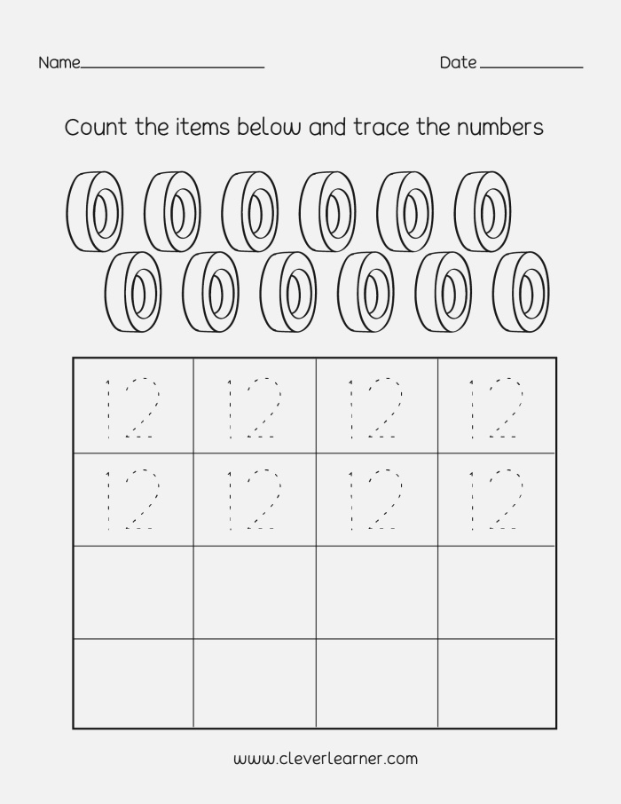 Tracing Numbers and Counting 12 Worksheets