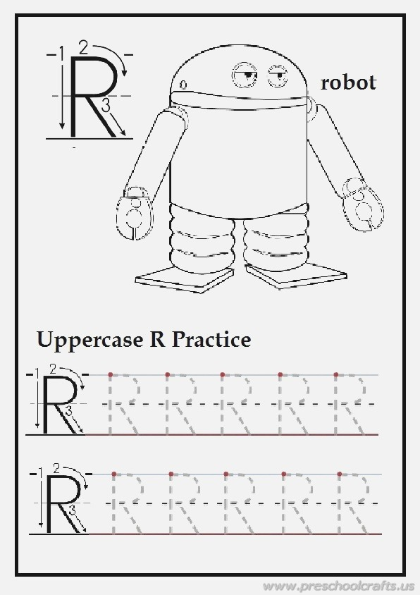 Tracing Uppercase Letter R is for Robot Homework for First