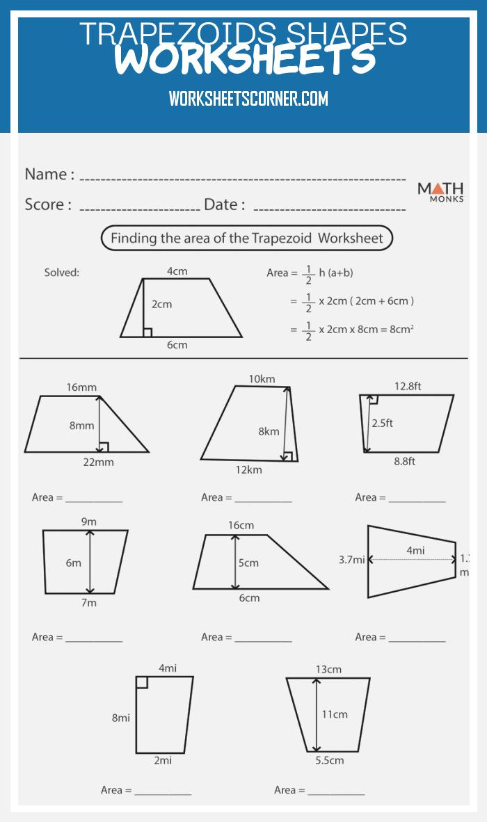 Trapezoids Shapes Worksheets