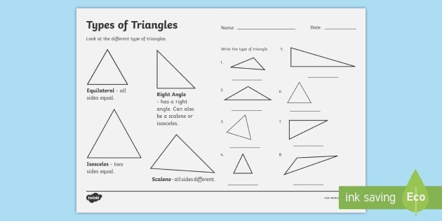 Types Of Triangle Activity Classifying Triangles Worksheet