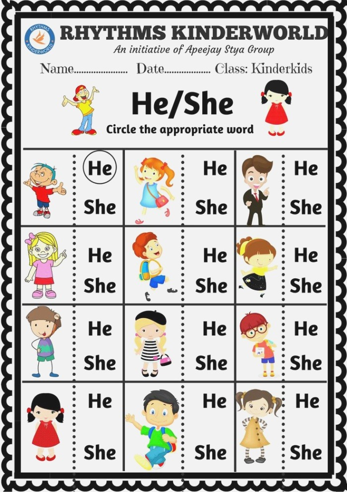 Worksheet On Concept Of Sight Words He She In 2020