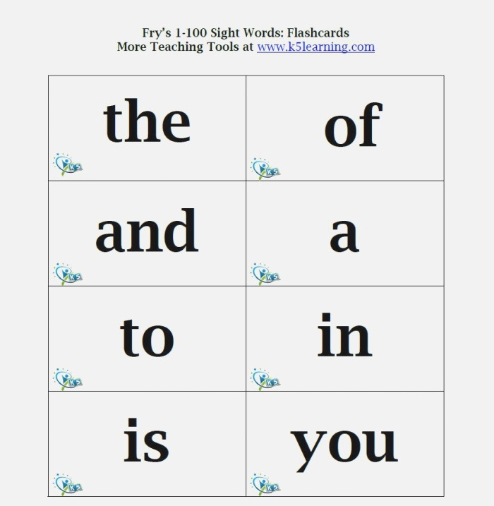 38 Sight Words Flash Cards for You