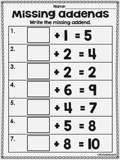 46 Best Images About Math Missing Addend On Pinterest