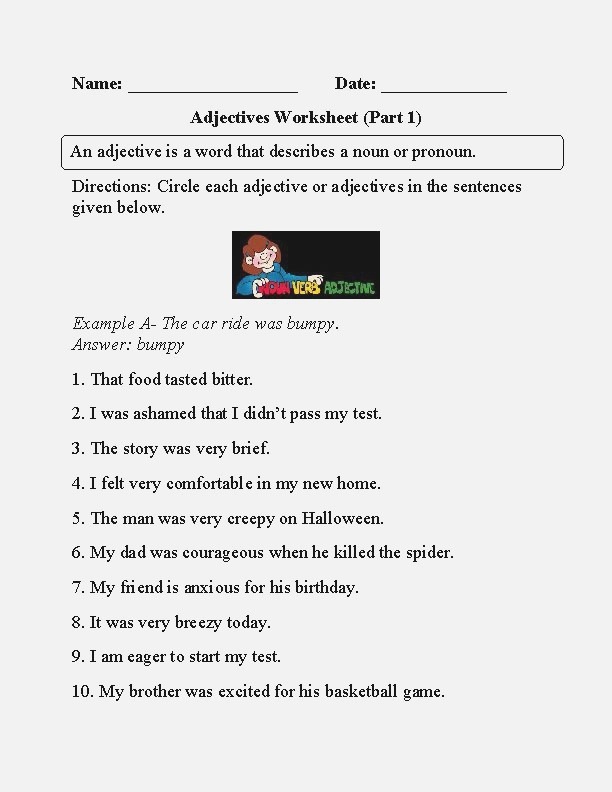 4th Grade Worksheet Circle the Adjectives In 2020