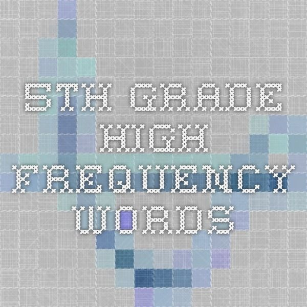 5th Grade High Frequency Words