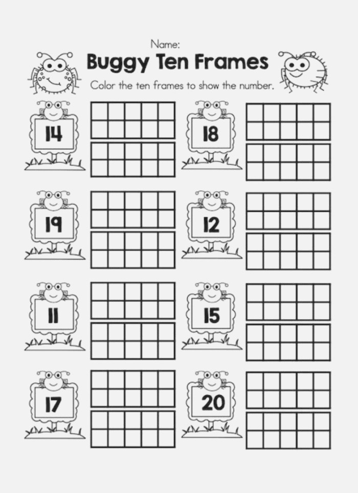 6 Best Of Printable Ten Frame Math Sheets Double