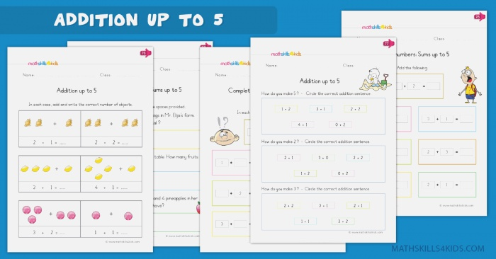 Addition Up to 5 Worksheets