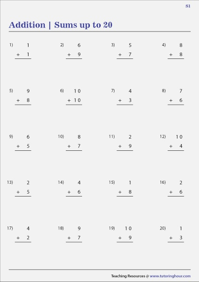 Addition within 20 Worksheets